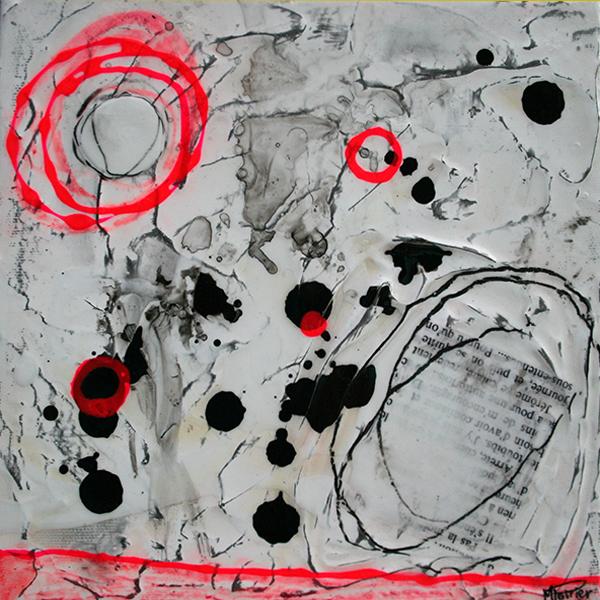 Fragments de vie XIV | 8 x 8 po | Techniques mixtes sur toiles