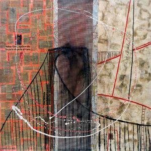46° 44′ 41″ N 71° 17′ 25″ W (Pierre- Laporte) | 91 x 91 cm | Techniques mixtes sur toile