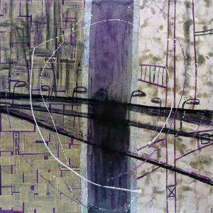 45° 30′ 15″ N 73° 32′ 38″ W (Concorde) | 91 x 91 cm | Techniques mixtes sur toile