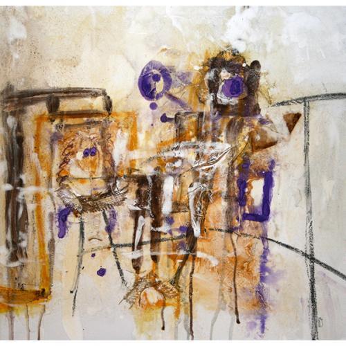 Waiting for tango | 61 x 61 cm | Techniques mixtes sur toile